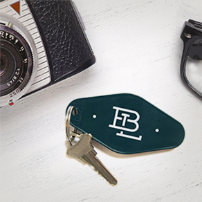 retro shaped keychain with logo