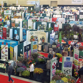 Aerial view of conference exhibitor booths
