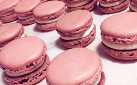 Pink french macarons made by Melissa